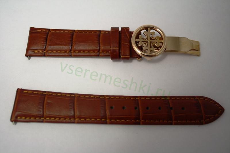 Ремешок для часов Patek Philippe. . Размер 20мм. . Кожа темно- коричневая, клипса под красное золото